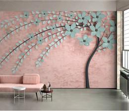 Murale rosa albero online-Carta da parati personalizzata 3D Stereo Nuovo albero Rosa Nordic Soggiorno camera da letto Sfondo Decorazione murale Carta da parati