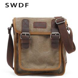 2020 leinwand cowboy tasche SWDF Canvas Vertical Männer Messenger Bag Kuh-Leder-Umhängetasche-Beutel-beiläufige Cowboy Schulter Ursprüngliche Retro Shell-Paket günstig leinwand cowboy tasche