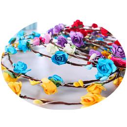 Венок для девочек онлайн-Flashing LED strings Glow Flower Crown Headbands Light Party Rave Floral Hair Garland Luminous Wreath Wedding Flower Girl kids toys