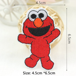 Parche bordado al por mayor online-Plaza Sésamo ELMO BIG BIRD remiendo del hierro en parches bordados para ropa DIY Placas pegatinas Apliques por mayor