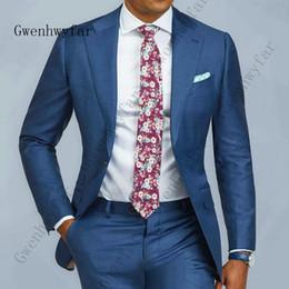 a377b44ad 2019 ternos sob medida Azul Formal Dos Homens Terno Slim Fit Único Botão  Ternos Dos Homens