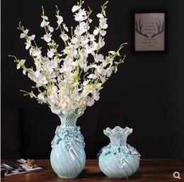 Schöne dekoration vase online-Kreativer blauer keramischer Vase, schönes Handwerkporzellangeschenk, Innenarchitekturdesktopdekoration