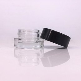 cera di cera Sconti contenitore di vetro stash jar 3ml 5ml logo personalizzato per dab rig cera vape penna colofonia custodia mini vaso cosmetico con coperchio nero