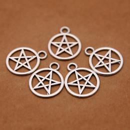 Pulseiras sobrenaturais on-line-Atacado-Supernatural pentagrama encantos Antique prata tom tibetano para fazer encantos encantos colar de pulseira
