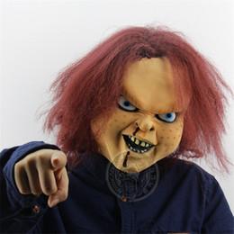 Korku Hayalet Başlık Hayalet Bebek Dönen Soul Film Sahne Chagie Bebek Lateks Maske Cadılar Bayramı Bar Dans Maskesi supplier ghost doll nereden hayalet bebek tedarikçiler
