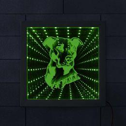 2020 luzes led da moldura da foto Pitbull iluminado Picture Frame LED Light Infinito Espelho Dog Pitties da raça acima do cão lindo Espelhado Luz Photo Frame luzes led da moldura da foto barato