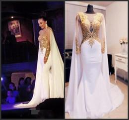 Золотые платья красная ковровая дорожка онлайн-2019 Новый элегантный арабский бисером золотые аппликации платья выпускного вечера с длинным рукавом с накидкой спинки вечерние платья Kftan Red Carpet вечернее платье