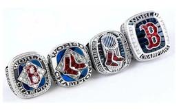 anillos de ventilador Rebajas 2019 venta al por mayor Boston 4PCS Rojo So x Campeón del Campeonato del Mundo de Béisbol Anillo de Campeón de Recuerdo Hombres Fan Brithday Regalo