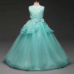 Elegantes niñas vestidos de fiesta online-2019 Floral Soft Tulle O-Neck Vestido de noche para niños Hasta el suelo Vestidos de baile para niña con lazo y faja Elegantes vestidos de encaje