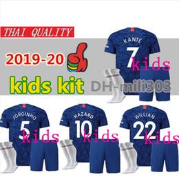 Kit david online-2019 2020 HAZARD HIGUAIN Kits de niños de jersey de fútbol 19 20 JUGUETE KANTE Willian DAVID LUIZ camiseta de fútbol infantil para niños camisetas de la mejor calidad