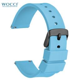 correa de reloj de 14mm Rebajas WOCCI Deepskyblue Bandas de reloj deportivo de silicona con hebilla negra Fit 14mm 18mm 20mm 22mm 24mm Correas impermeables lavables para hombres, mujeres