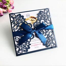 graduação Desconto 2019 Novos Cartões de Convites de Corte A Laser Com Fitas Para O Casamento Nupcial Do Chuveiro de Aniversário de Aniversário Cartões de Formatura