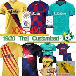 jérsei tailandês xxl Desconto Thai FC Barcelona messi GRIEZMANN DE JONG camisa de futebol 19 20 Barcelona Maillot de homens pé garoto 2019 2020 camisa do Barcelona Futebol xxs-4xl