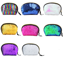 Mermaid Sequin Cosmetic Bag Glitter Makeup case Purse Bling Storage  Organizer Glitter Bling shell pouch Wedding Clutch Bag 584 c66a816e1d6fb
