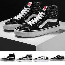 2611de788 Original Vans old skool sk8 hi mens para mujer zapatillas de lona negro  blanco rojo YACHT CLUB MARSHMALLOW moda skate zapatos casuales tamaño 36-44