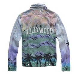 Chaqueta de mezclilla de los hombres de impresión online-Para hombre de lujo diseñador de la chaqueta mujeres de los hombres de alta calidad de impresión dril de algodón de la chaqueta para hombre del diseñador Escudo Azul Negro Tamaño M-4XL