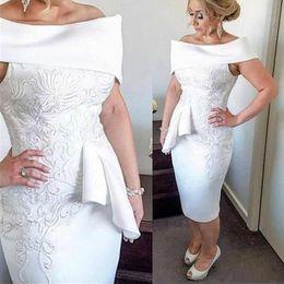 2019 vestido asimetrico madre 2020 barco de té negro Longitud apliques madre del vintage de la novia vestidos por encargo vestidos de baile Made