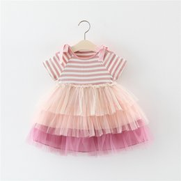 ribbons bows for skirts Promo Codes - Summer New Korean Girls Stripe Stitching Cake Skirt Princess Dress for Children baby girl cute tutu skirts