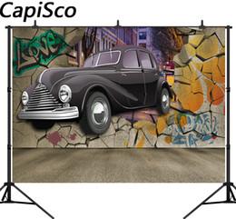 Capisco 3D Graffiti murs voiture Photographie Arrière-plans Vinyle Custom Camera Décors Photographiques Pour Photo Studio ? partir de fabricateur