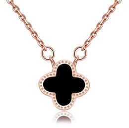 Collares de oro de la boda para las mujeres online-Diseñador de lujo Collares con Cadena Cadena de Clavícula Trébol Collar Colgante Rosa de Oro Plata Colores Joyería para Mujeres Boda