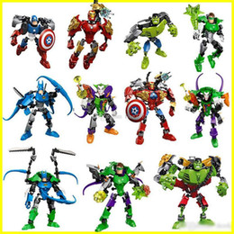Bloques de robot online-Nuevos bloques de construcción de superhéroes Avengers ensamblaje de bloques de construcción de robots Superhéroe Capitán América Hulk Niños juguetes educativos de bricolaje