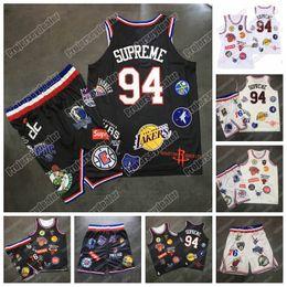 Pantalones cortos de baloncesto de jersey negro online-Cosido Supreme 94 NCAA College Baloncesto Jersey Hombres Negro Blanco Conjunto Supreme 94 Baloncesto Shorts EN STOCK Envío rápido