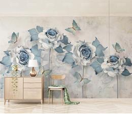 Elegantes wohnzimmer tapete online-Gewohnheit irgendeine Größe Tapete 3d elegante Blumen-Schmetterlings-Light Blue Wohnzimmer Schlafzimmer Hintergrund Wanddekoration Wallpaper