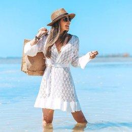 Tamaño Playa Vestidos y la túnica Sun Kaftan Praia extra grande de las mujeres ropa de playa Pareo cubre sube Swim Bikini Cover Up blanco de salida Salidas desde fabricantes