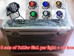 caja de luz de aluminio led Rebajas Caja de aire + 6pcs 7x18w LED par de aluminio fundido RGBWA + UV 6in1 dmx luces de entretenimiento profesional para el hogar discoteca dj iluminación de escenario