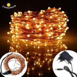 Cable de alimentación plano online-Dc12v 10m / 20m / 30m / 50m Led Silver / copper Light Wire String Led String Lights Fairy Con adaptador de corriente para la boda de Navidad decoración