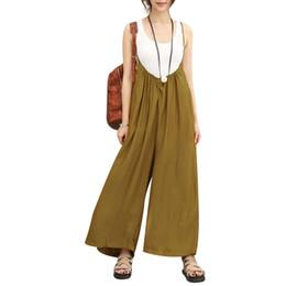 5XL 2018 monos de época monos de mujer de algodón de lino pantalones anchos de la pierna más el tamaño de verano pantalones largos mamelucos trajes de cuerpo desde fabricantes