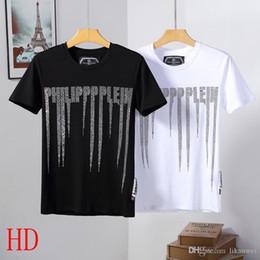 2019 The New hombres de lujo carta Rhinestones T Shirts Casual 100% hombre de algodón de manga corta camiseta de moda de verano delgado hombre camisetas desde fabricantes