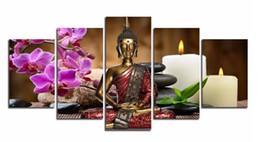 Orquídeas quadro on-line-5 Peças de Impressão Da Lona Moderna Moda Arte Da Parede a Orquídea vela Zen Pedra Buda Paisagem para Decoração de Casa Sem Moldura