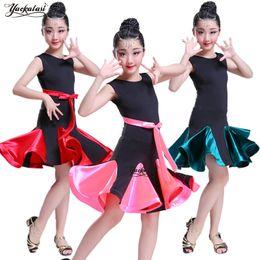 samba röcke Rabatt NEUE Mädchen Latein Kleider für Tanz Ballroom Dance Kleid Rumba Samba Samt Kinder Samba Cha Cha Tango Rock Standard Salsa