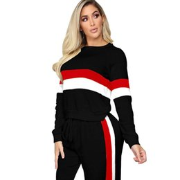 a7b2175a9d2 Winter Hot 2 Pieces Outfits Women Patchwork Tops And Pants Suit Ladies Two  Pieces Tracksuit Women Set