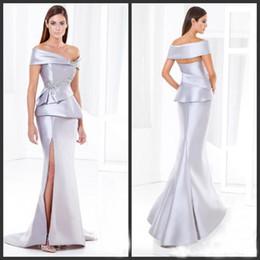 Высокого качество Серебряного Mermaid мать невесты платье атласной плечи рукав высокого Бедро Сплит бисер Пром платье Длинного от