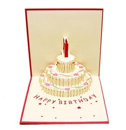 Всплывающая карта торта онлайн-1шт подарок на день рождения торт карты всплывающие 3D поздравительные открытки с конвертом открытки приглашение ручной работы оригами юбилей