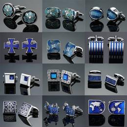 2018 popüler Mavi Kristal emaye tasarım manşetleri yüksek kaliteli Fransız gömlek erkek iş düğün hediyeleri için kol düğmeleri nereden