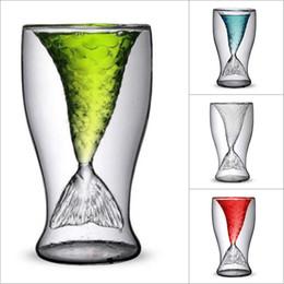 cabeza de cráneo vodka vasos de chupito Rebajas Promoción 100 ml Creative Crystal Mermaid Tail Cup Vidrio transparente Cola de pescado Práctico Creative Wine Cup Vasos de vidrio resistente al calor