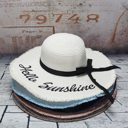 136ab408466 Handmade Weave Sun Hats For Women Black Ribbon Lace Letter Large Brim Straw  Hat Female Vacation Beach Summer Caps High Quality