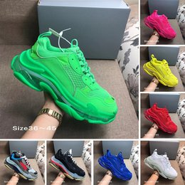 мужская обувь Скидка С Box дизайнер 17FW Тройной S добавляет Clear Bubble Midsole кроссовки мужские женщин Неон зеленый роскошь увеличения Марка Повседневный папа обувь
