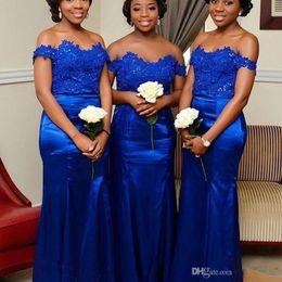 2019 vestidos vermelhos de jantar curto Royal Blue Lace País Da Dama de Honra Vestidos Longo Fora Do Ombro Sereia Barato 2019 Bling Lantejoulas Vestidos de Festa Para Casamentos Vestidos Formais
