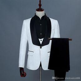 f8faead95364 Groomsmen White Red Pink Pattern Groom Tuxedos Shawl Black Satin Lapel Men  Suits Wedding Best Man Bridegroom (Jacket+Pants+Vest+Tie) L27