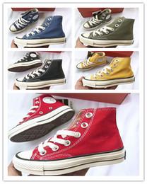 детская обувь из желтого холста Скидка Горячая мода 1970-х годов Converse Chuck All Star Желтый Зеленый Синий Повседневная обувь Холст обувь детские кроссовки кроссовки Skate zapatos26-35