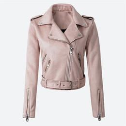 Chaqueta pu online-Faux PU de la mujer chaqueta de cuero de ante de la primavera chaqueta corta Multy Zipper motocicleta para mujer 2019 otoño Dropshipping Biker chaquetas