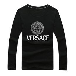 Ropa joven online-Camiseta de manga larga para hombres jóvenes, cuello redondo para hombres, ropa holgada, traje estilo otoño para hombres, imprimación de otoño.