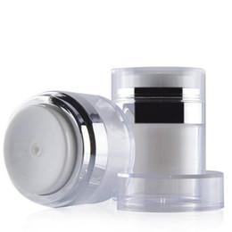 puede presionar Rebajas 15ml 30ml 50ml Frasco cosmético Vacío Botes de crema acrílico Botella de vacío blanca Sin aire Recargable Recipiente de prensa Loción Botella de bomba