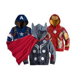 Capitan america chaqueta con capucha online-Sudaderas con capucha para niños JACKET BABY Chaqueta con capucha para niños Capitán América Vengadores Hulk thor iron man Superhero cosplay Sudadera con capucha para niños KKA3910