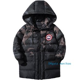 coats threads Coupons - 2019 Kids Designer Winter Coats Style Trendy Boys Long Down Jacket Thread Cuff Military Green Camouflage Fiber Inner Bile Boys Coats