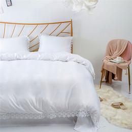 Weiße spitzenbettwäsche-sets online-Baumwoll-Tencel-artige Spitzenbettwäsche Queen-Size-Bettbezüge in Weiß 3 Stück (1 Bettbezug + 2 Kissenbezüge) Heimtextilien Tröster Bettwäsche-Sets